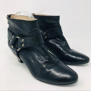 Frye Black Steffi Harness Bootie Boots Zipper